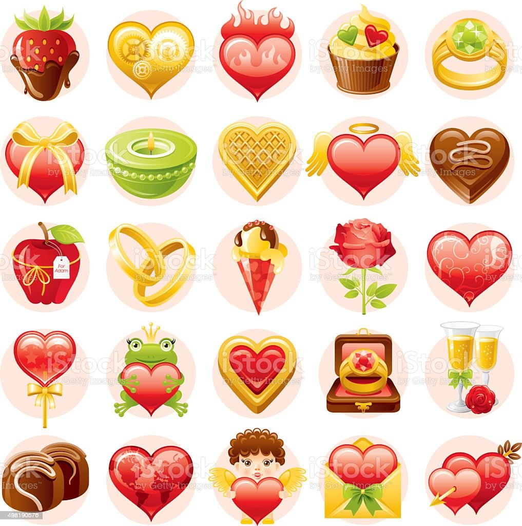 Valentine's day icon set vector art illustration