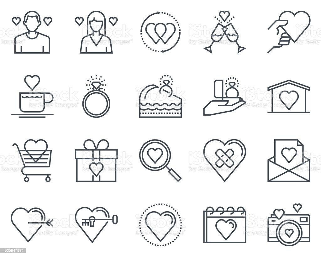 Valentines day icon set vector art illustration
