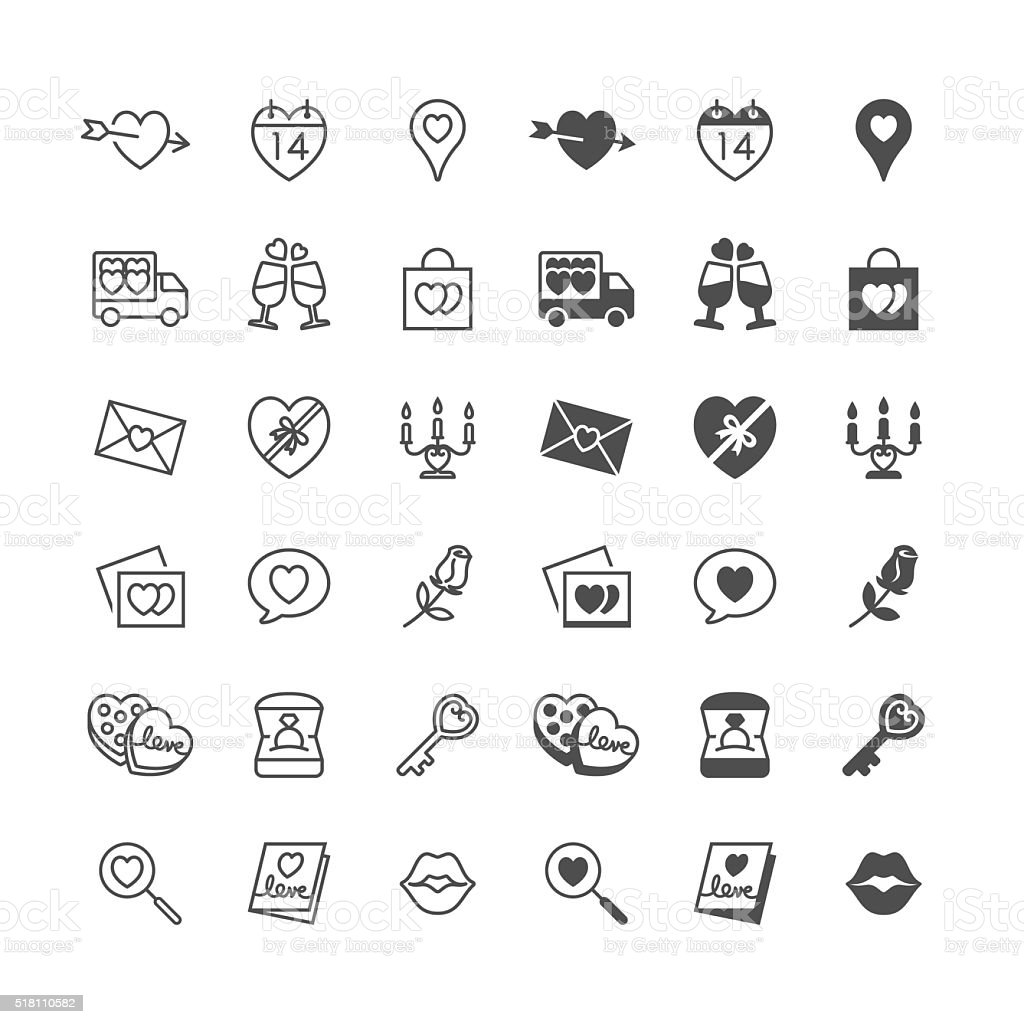 Valentine's day icons, included normal and enable state. vector art illustration