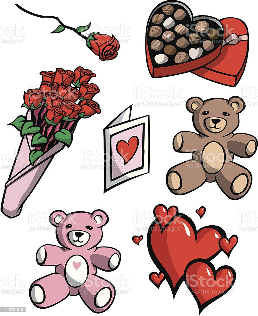 Valentine's Day Icons vector art illustration