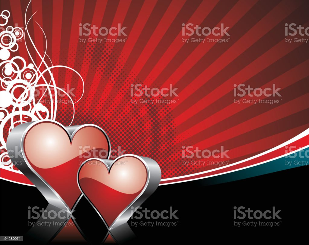 Valentine's day illustration with glossy heart symbols on red background. royalty-free stock vector art