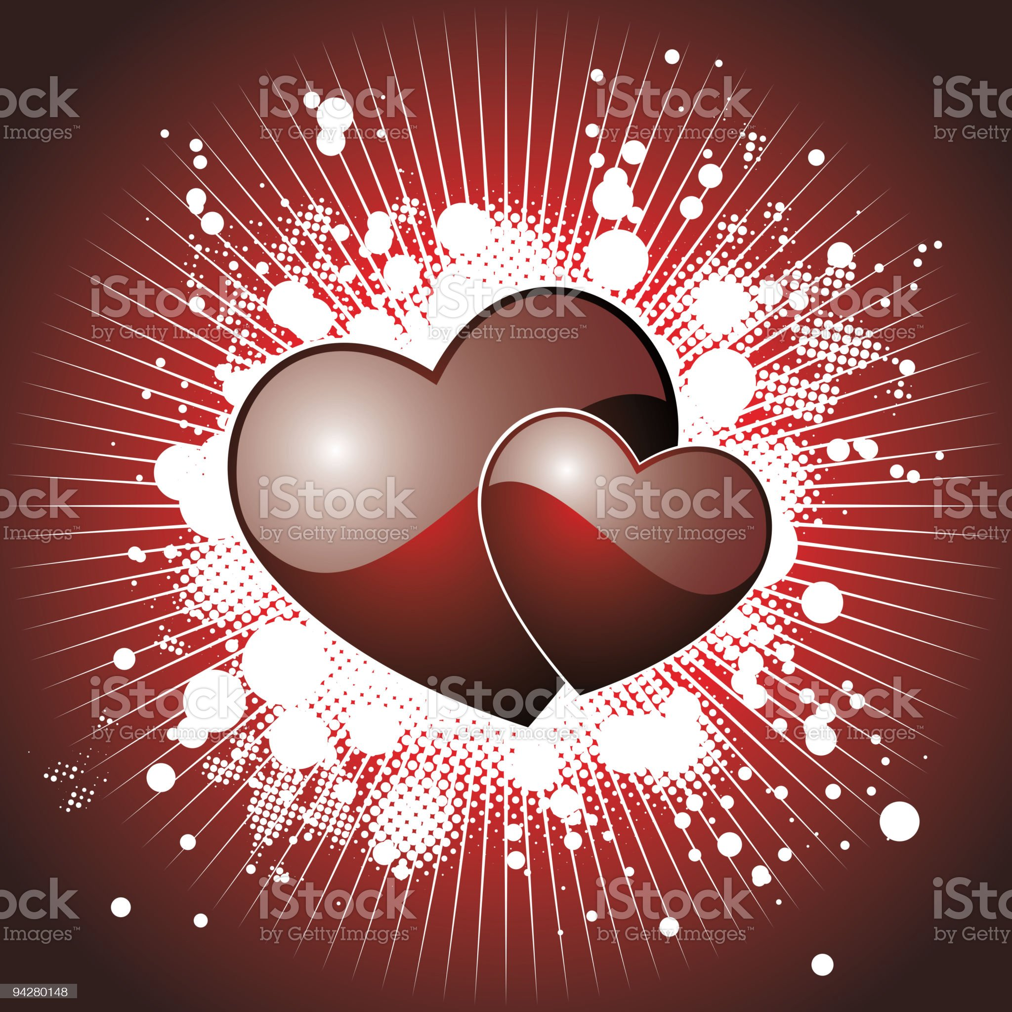 Valentine's day illustration with glossy red hearts. royalty-free stock vector art