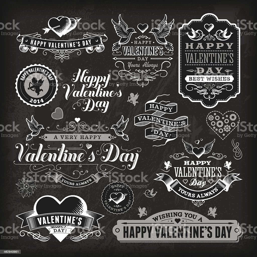 Valentine's Day Label Set - Chalkboard royalty-free stock vector art