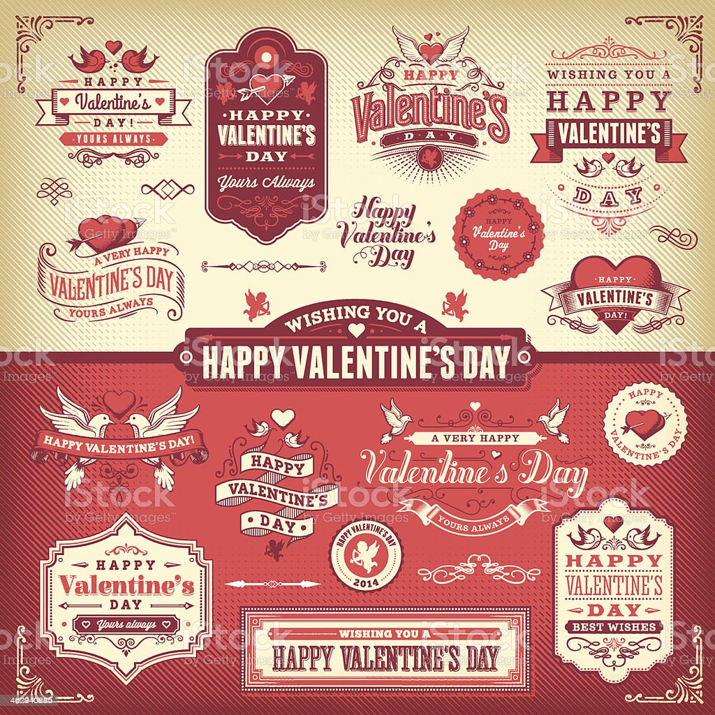 Valentine's Day Label Set vector art illustration