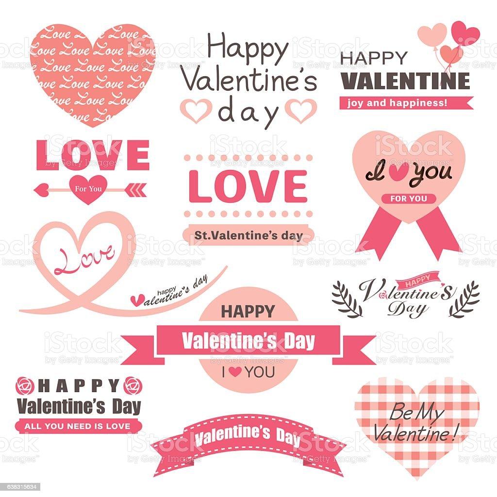 Valentine's day label set vector art illustration