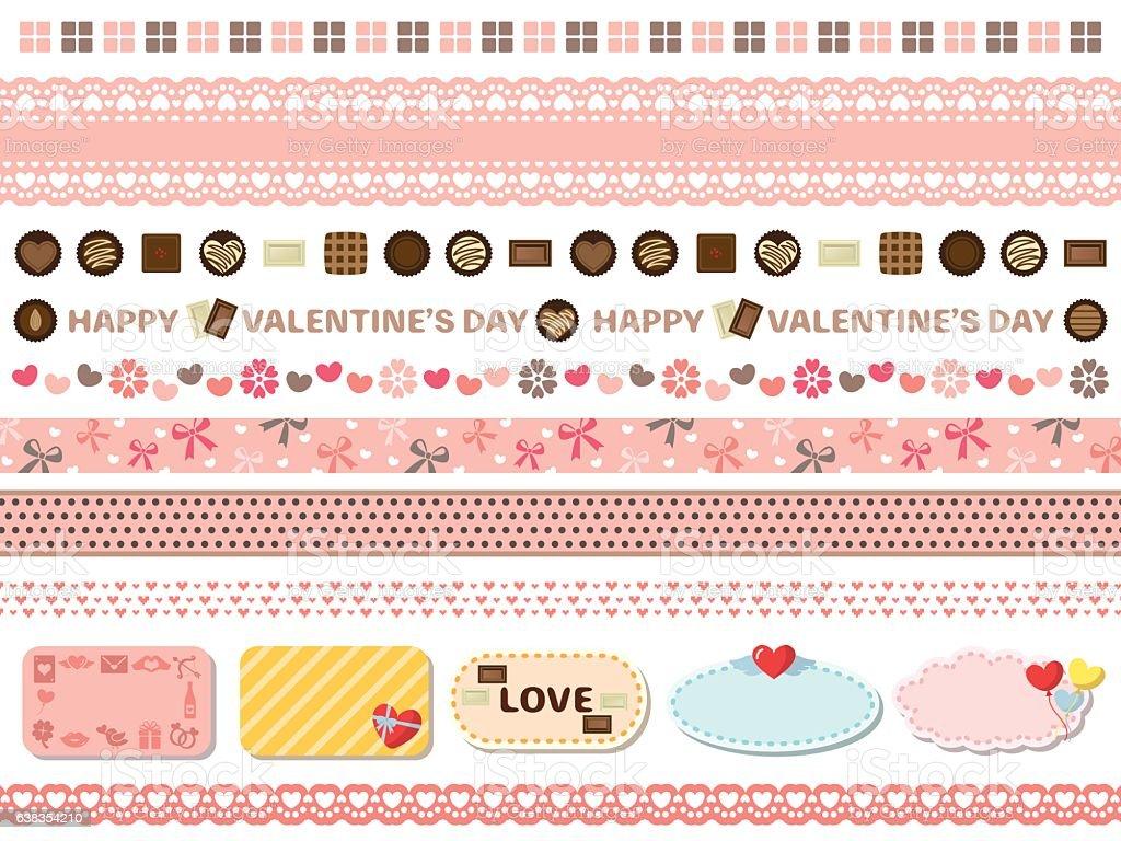 Valentine's day line set vector art illustration