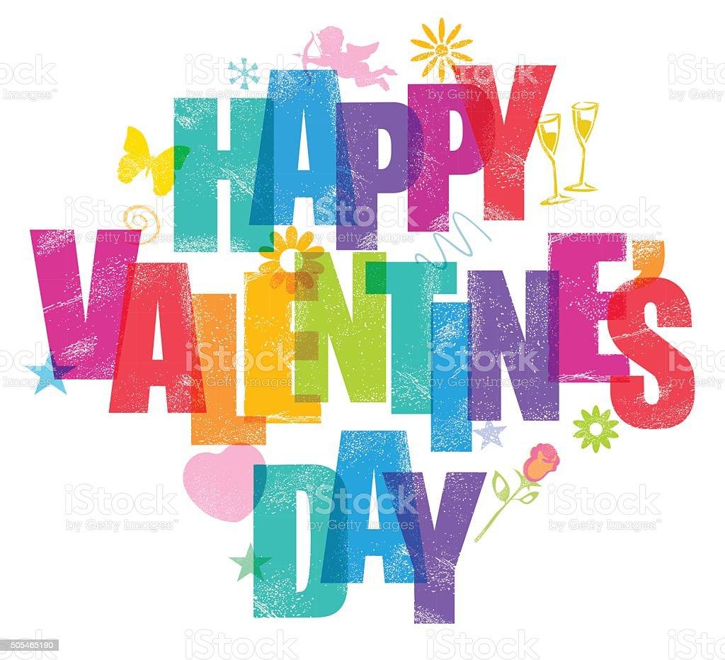 Valentines day message vector art illustration