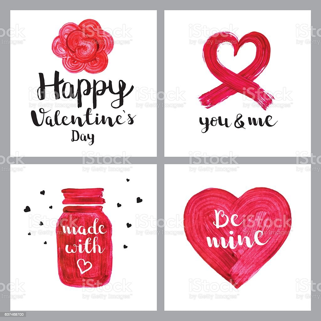 Valentines day paint greetings vector art illustration