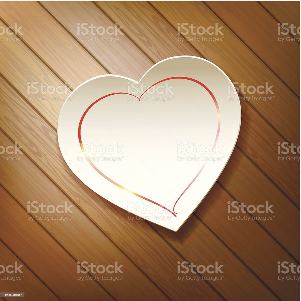 Valentine's Day. Paper heart on a background of wood. royalty-free stock vector art