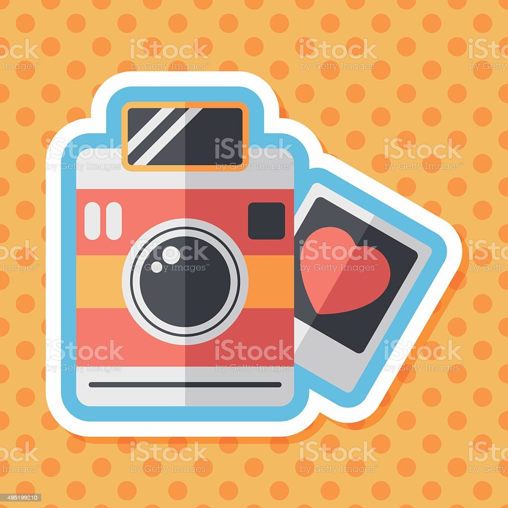 Valentine's Day photo flat icon with long shadow,eps10 vector art illustration