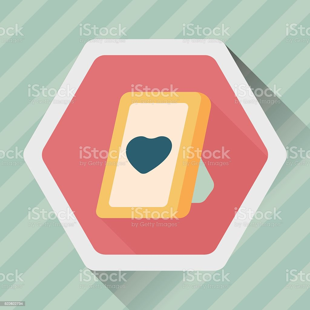 Valentine's Day photo frame flat icon with long shadow,eps10 vector art illustration