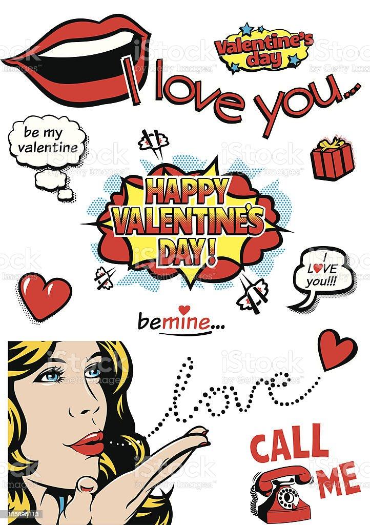 Valentine's Day Pop Art royalty-free stock vector art