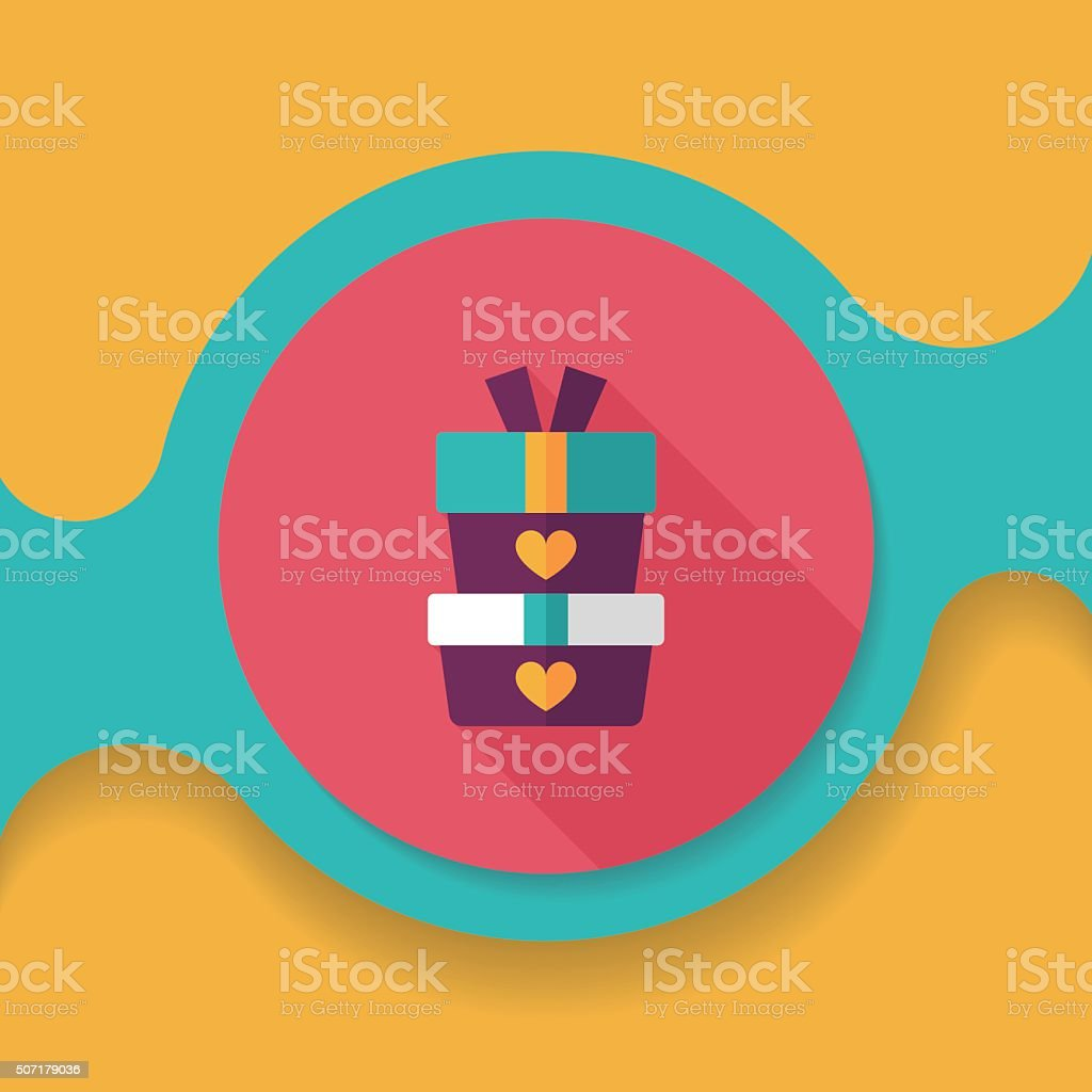 Valentine's Day present flat icon with long shadow,eps10 vector art illustration