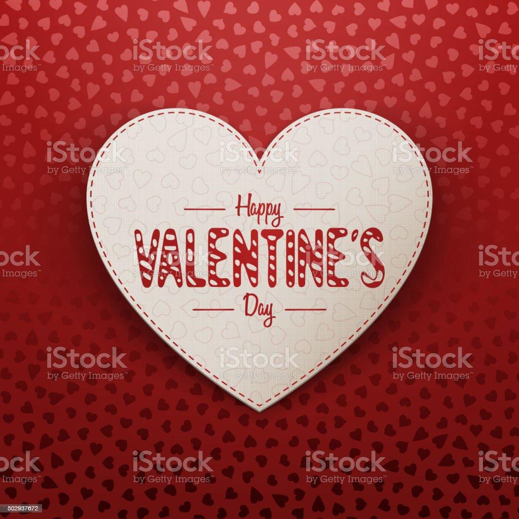 Valentinstag Realistische Papierkarte Begrüßung Vektor Illustration ...