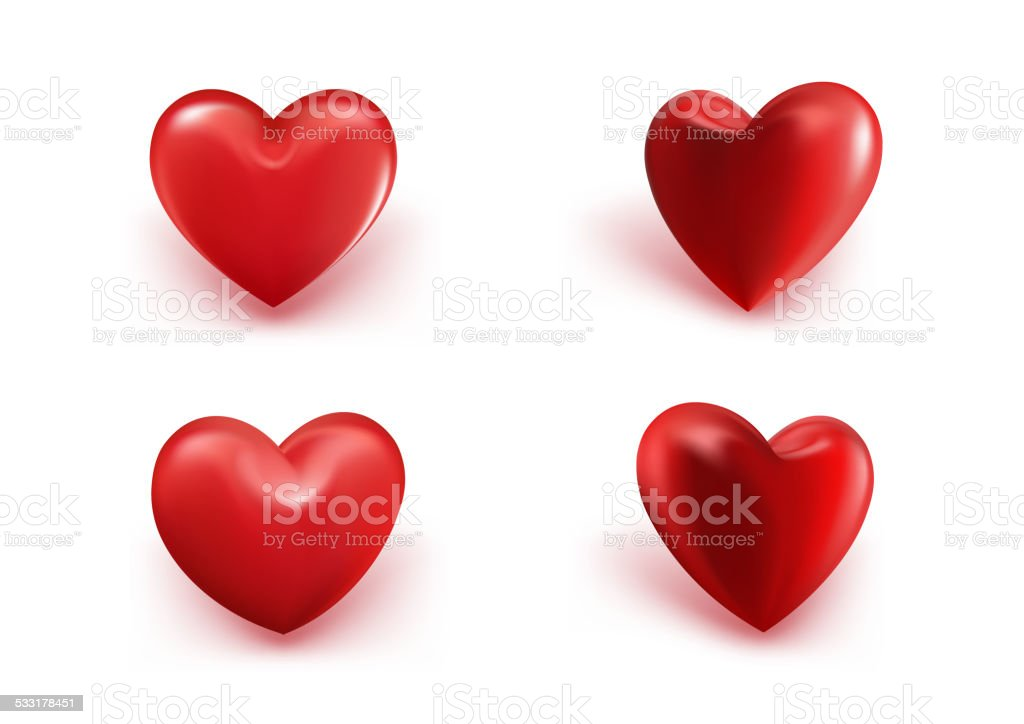 Valentines Day Red Sweet Balloon Hearts vector art illustration