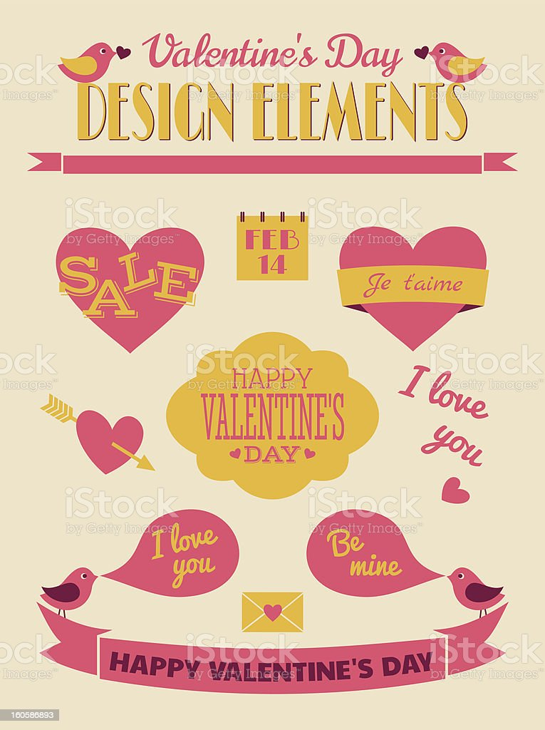 Valentine's Day Retro Collection royalty-free stock vector art