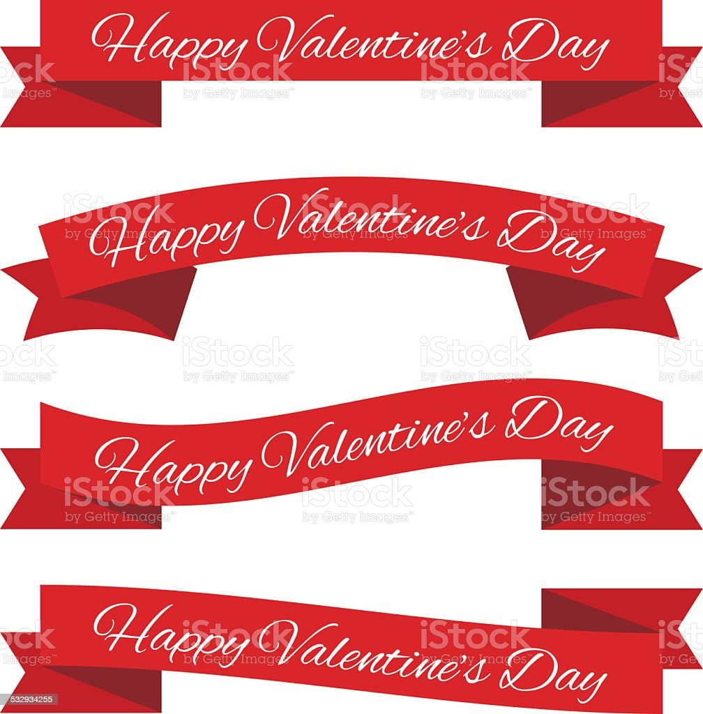 Valentine's day ribbons vector art illustration
