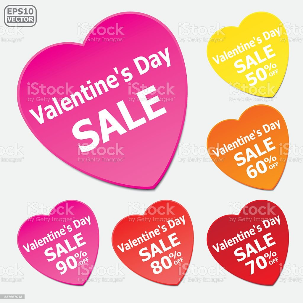 Valentine's Day Sale stickers. royalty-free stock vector art