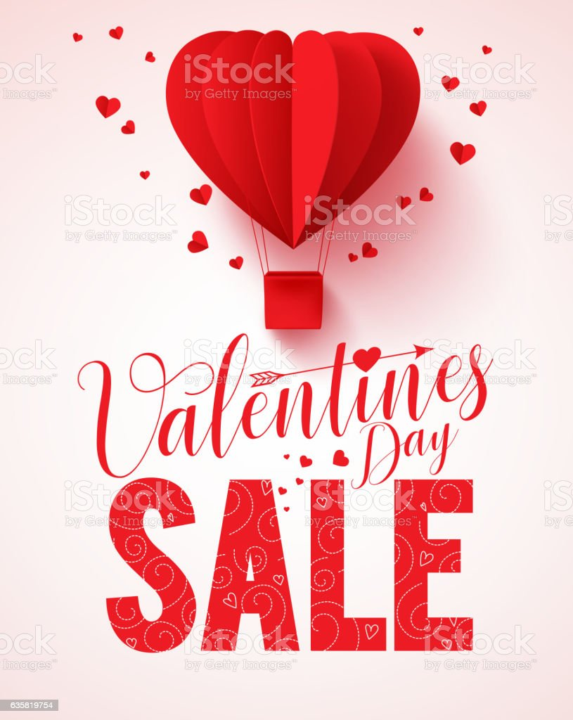 Valentines day sale text vector design for promotion vector art illustration