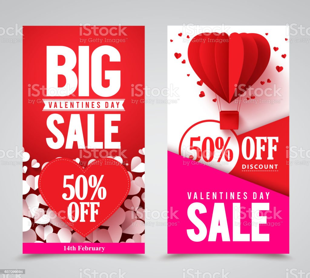 Valentines day sale vector poster designs and web banners vector art illustration
