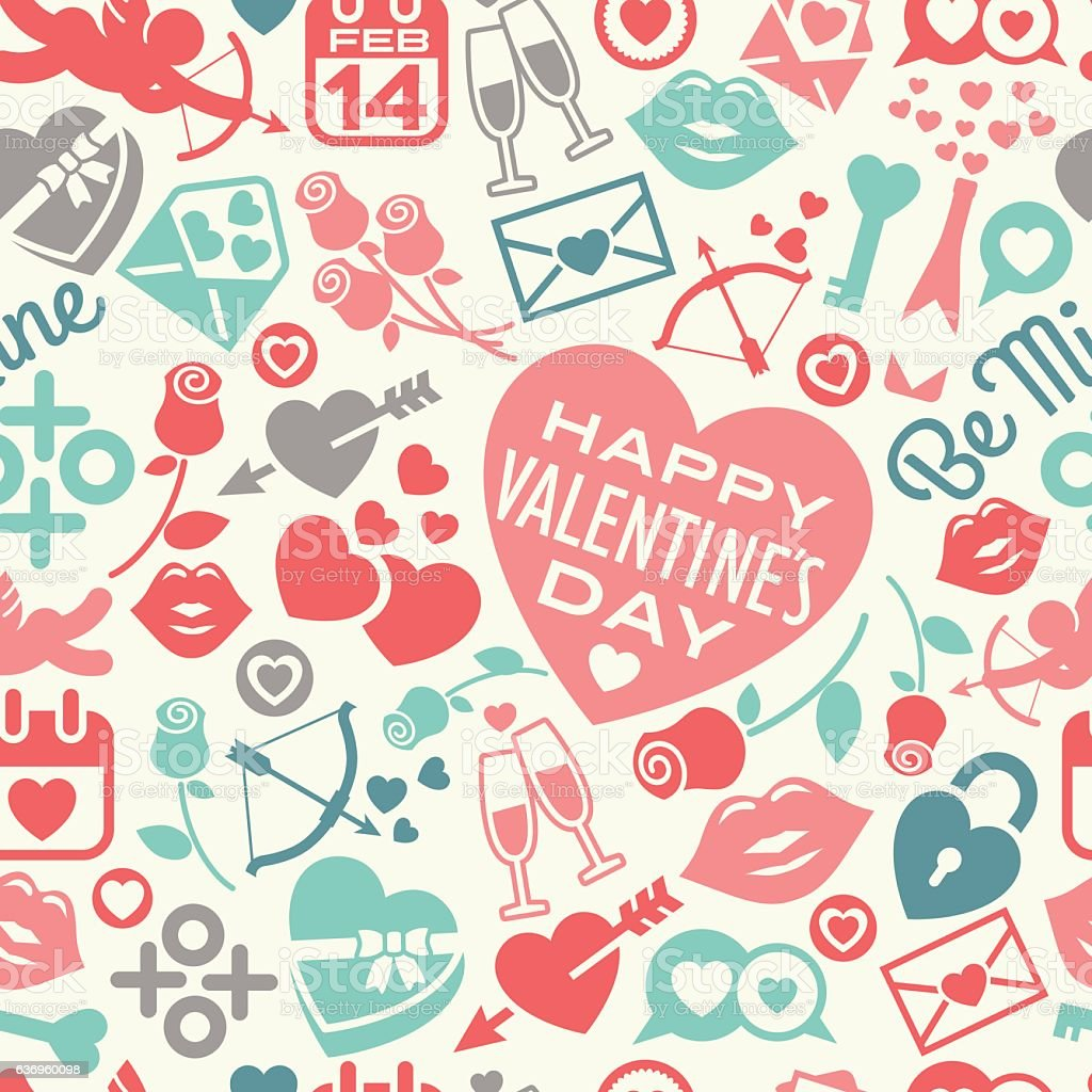 Valentines Day seamless pattern of icons and hearts vector art illustration