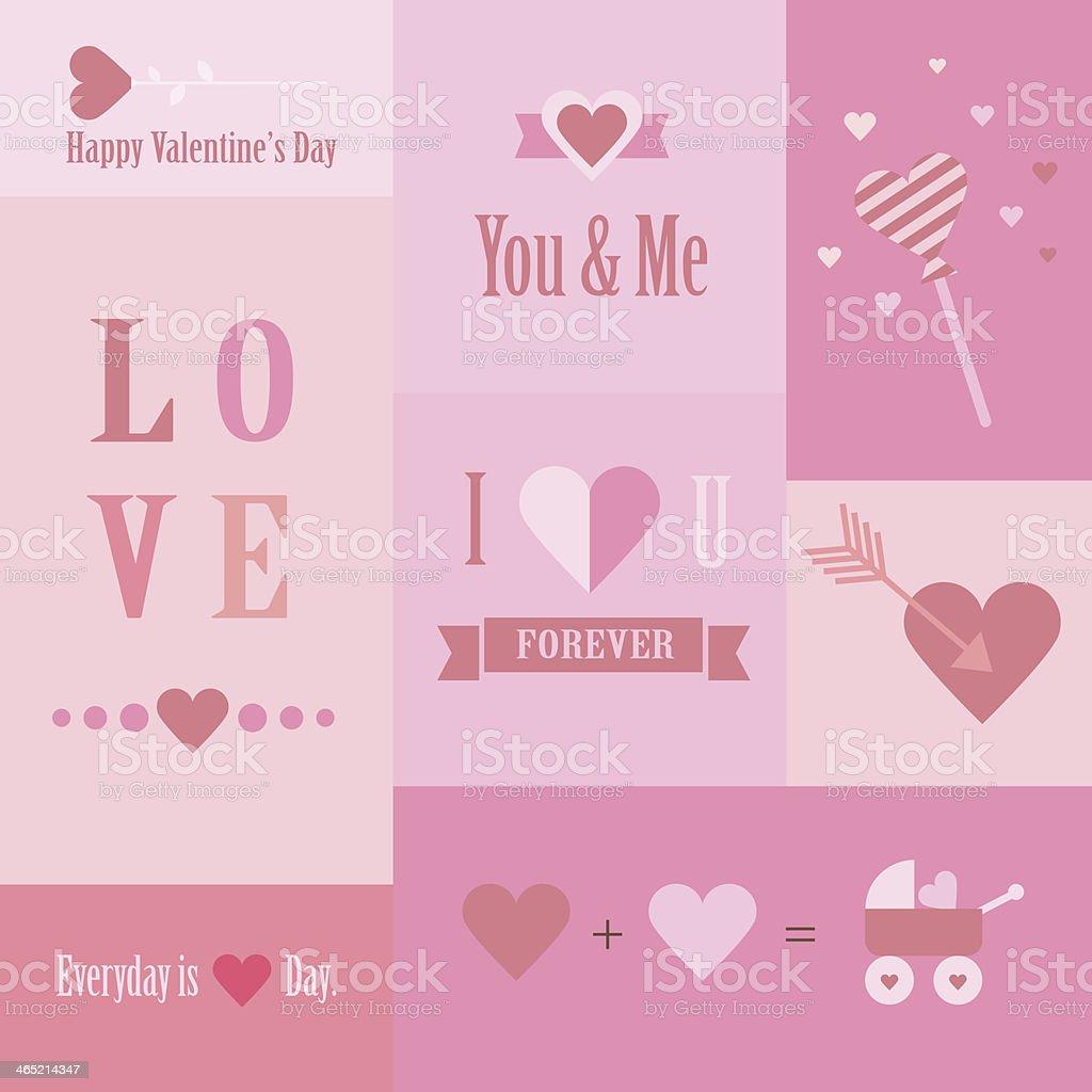 Valentine's day set of cards vector art illustration