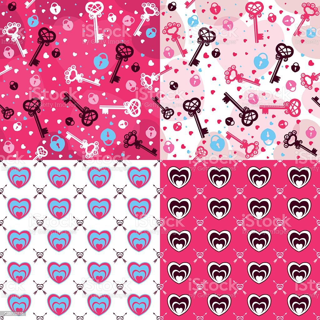Valentine's Day set of four seamless patterns vector art illustration