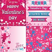 Valentine's Day Set of Greeting Sign, Ribbons and Seamless Pattern