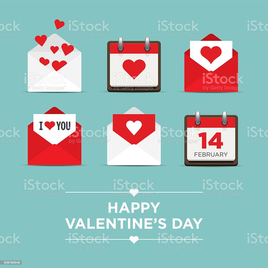 Valentines day, set of icons vector art illustration