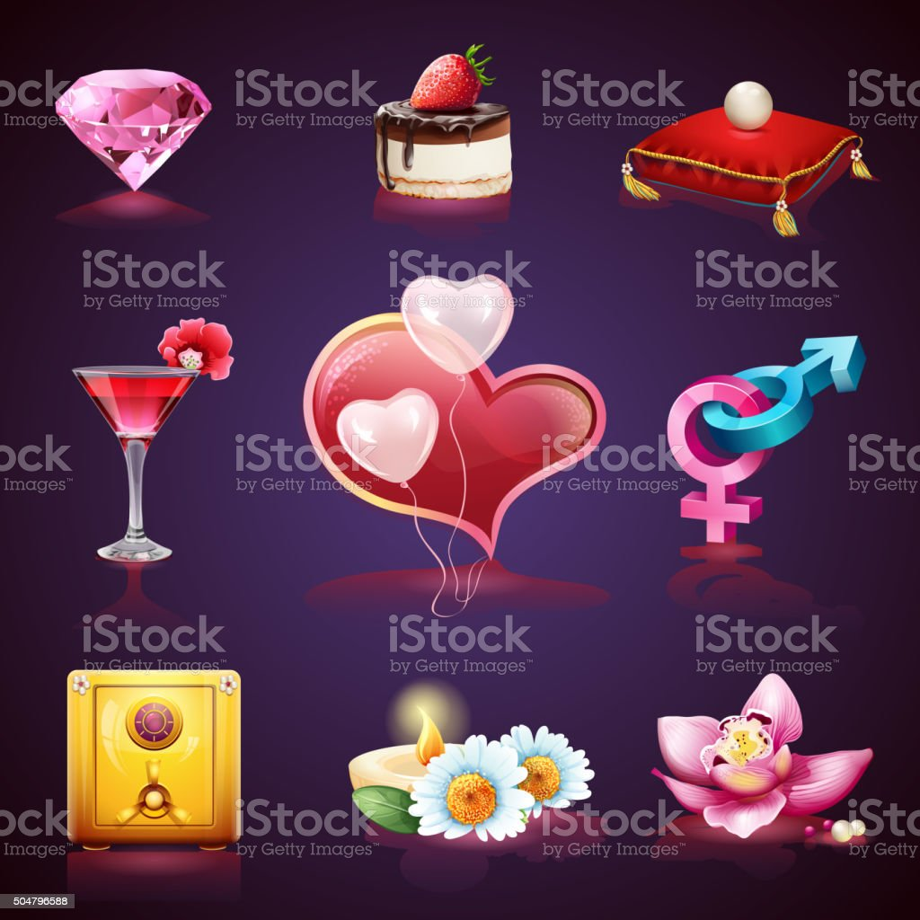 Valentines Day. Set of romantic elements vector art illustration