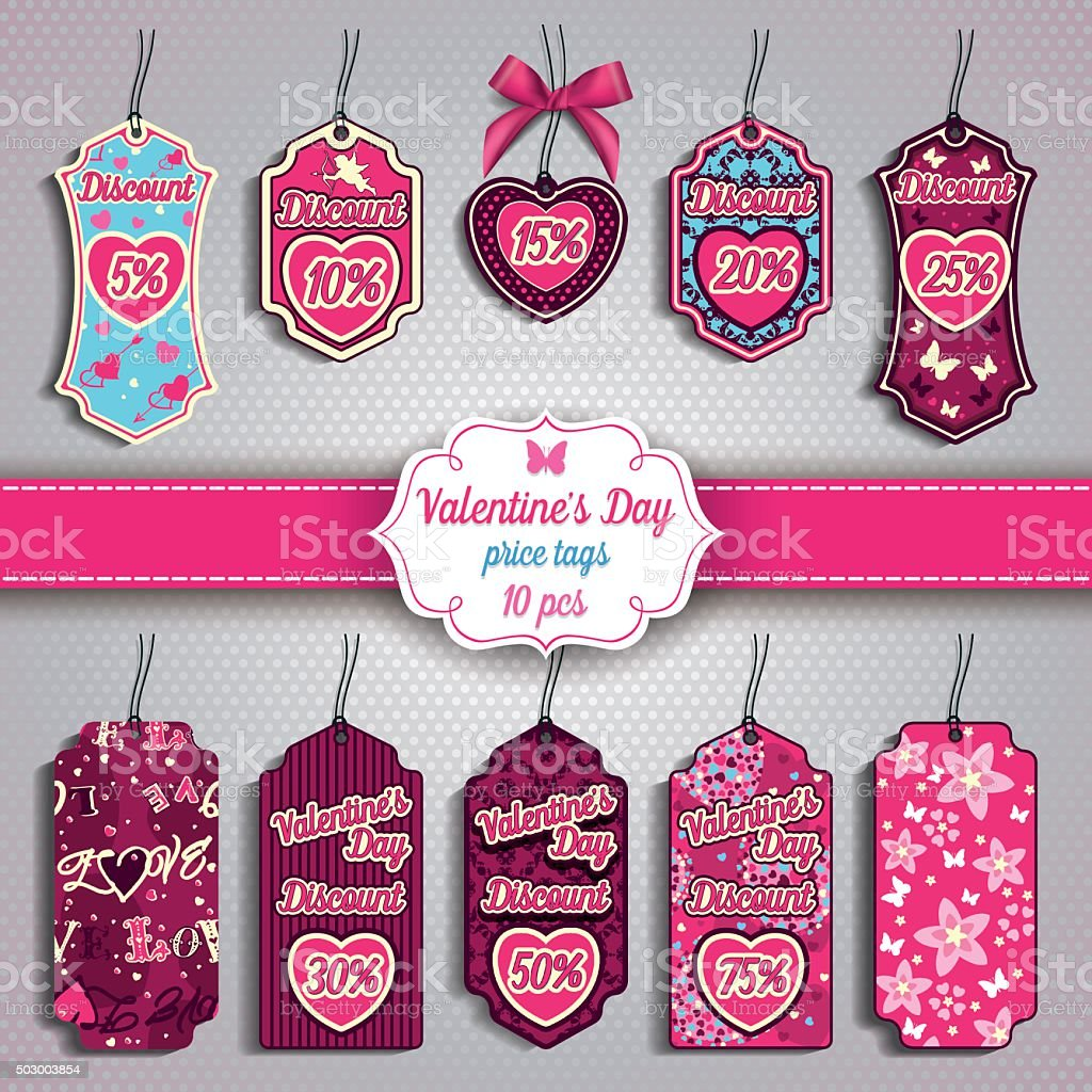 Valentine's Day set of ten Price Tags vector art illustration