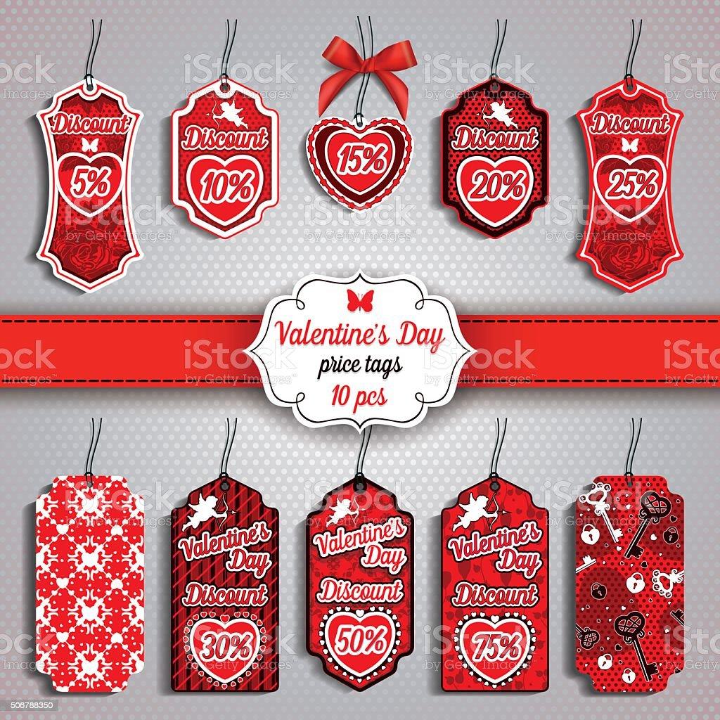 Valentine's Day set of ten Price Tags vector art illustration