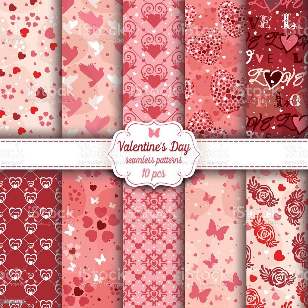 Valentine's Day set of ten seamless romantic patterns vector art illustration