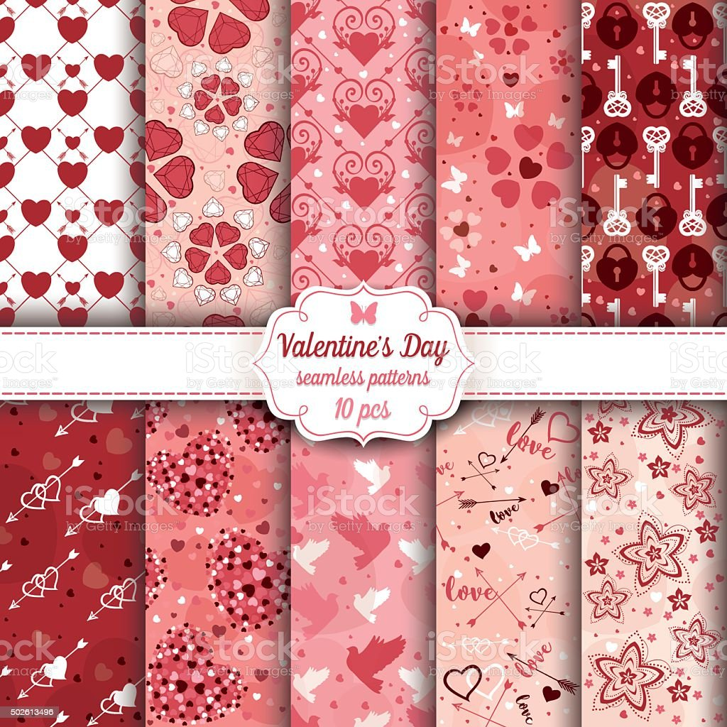 Valentine's Day set of ten seamless romantic patterns vector art illustration