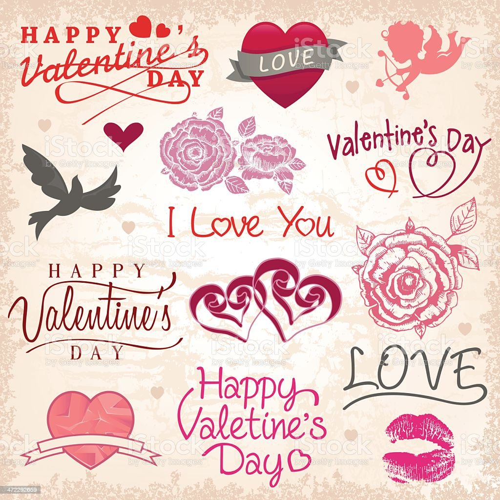 Valentine`s day set royalty-free stock vector art