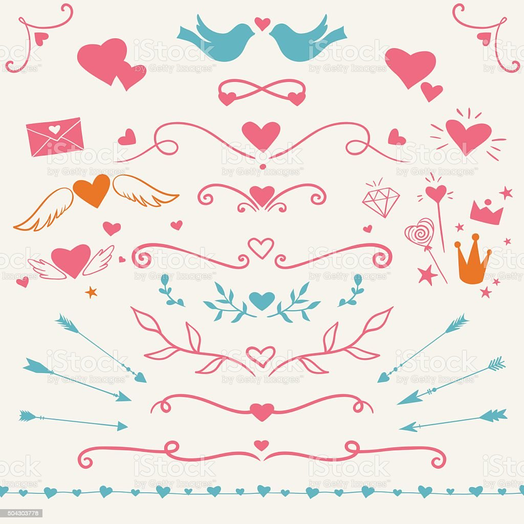 Valentine's day set vector art illustration