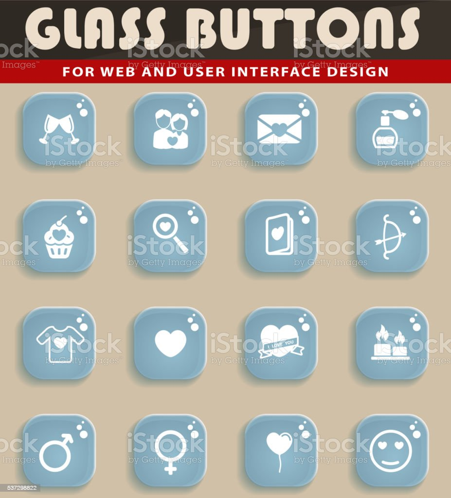 Valentines day simply icons vector art illustration