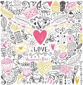 Valentines day sketch pattern