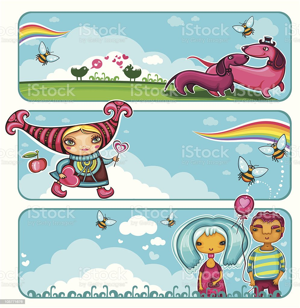 Valentine's Day  sky  banners royalty-free stock vector art