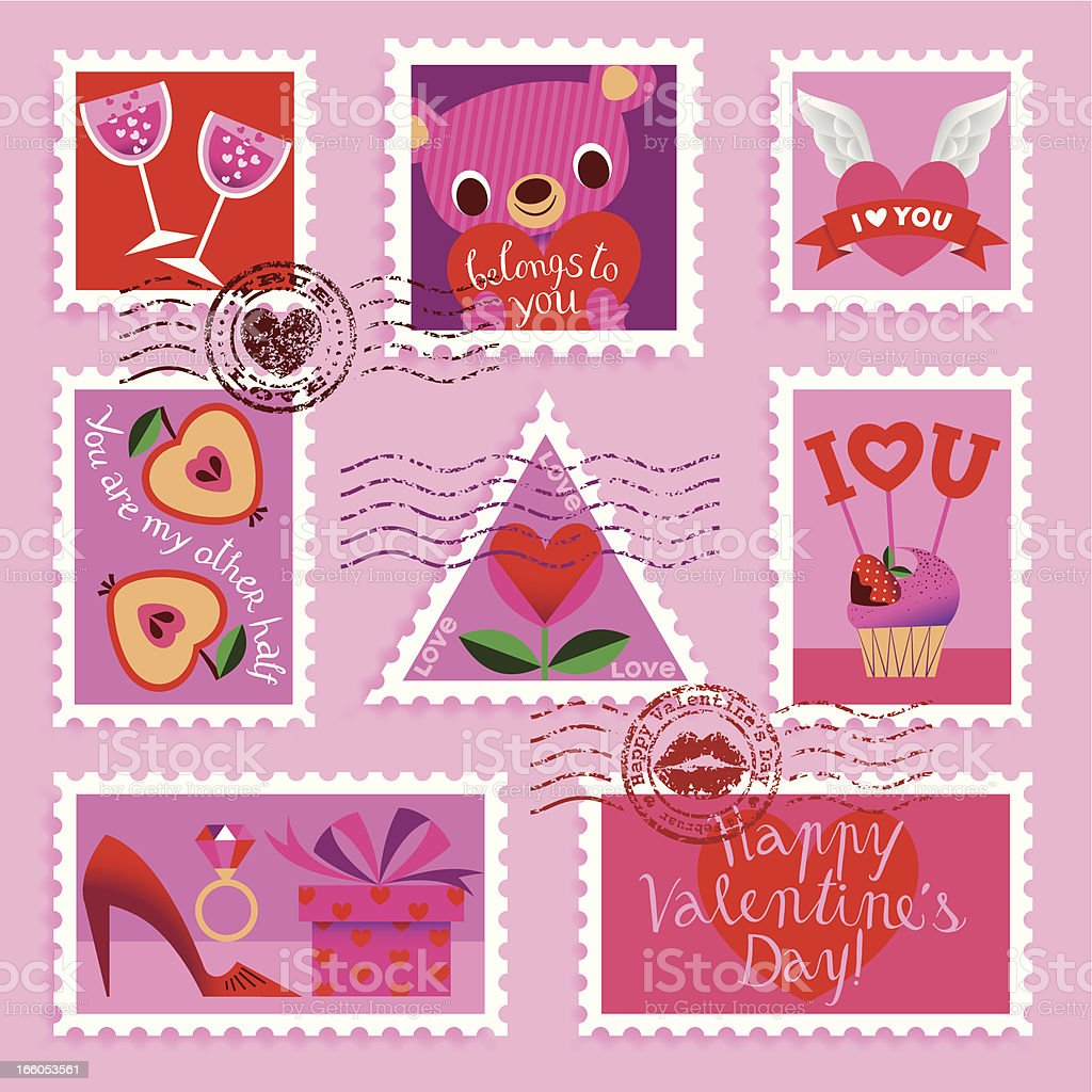 Valentine?s day Stamp Set. royalty-free stock vector art