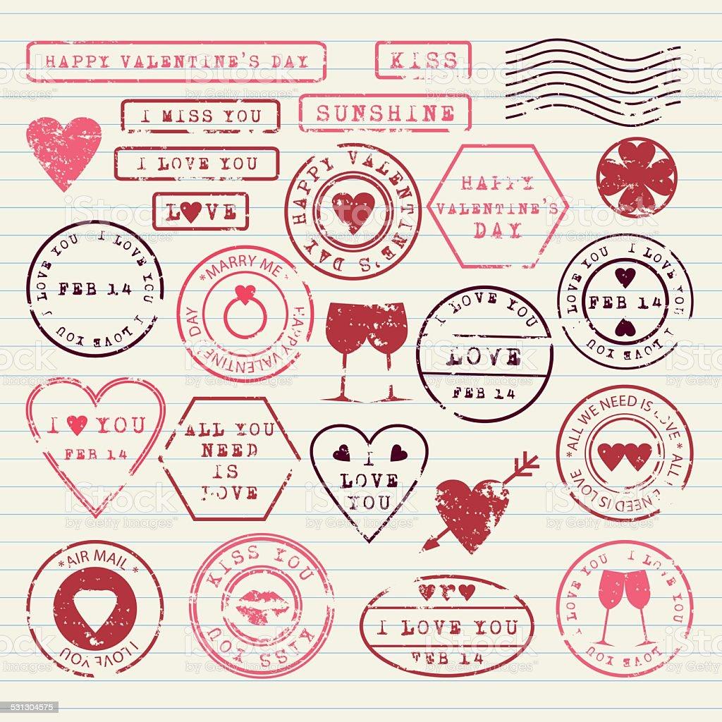 Valentine's Day stamps set vector art illustration
