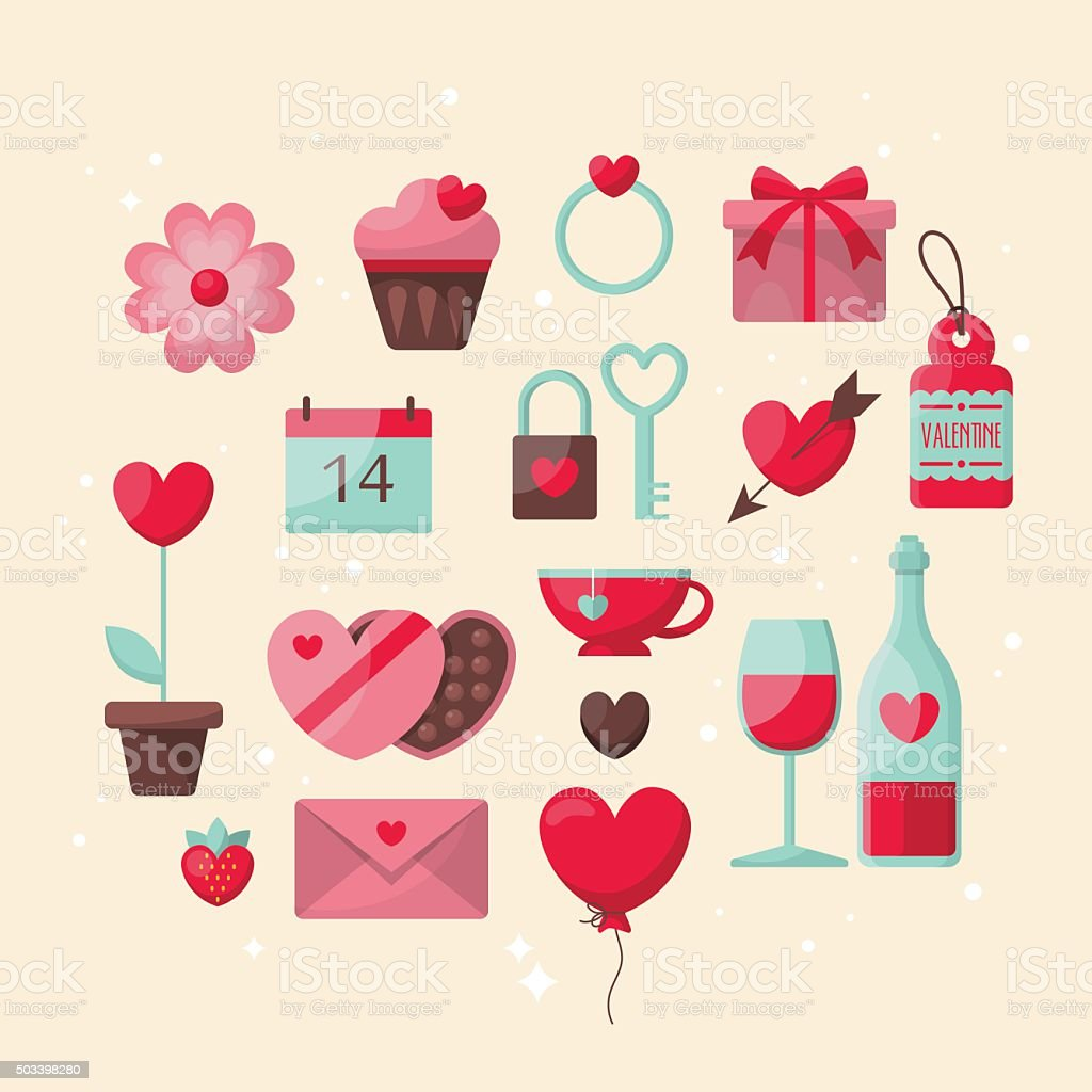 Valentine's day stylish icons design vector art illustration