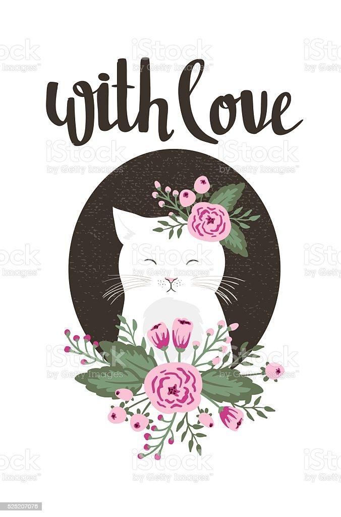 Valentine's day. Stylish simple floral design. Vector illustration. vector art illustration