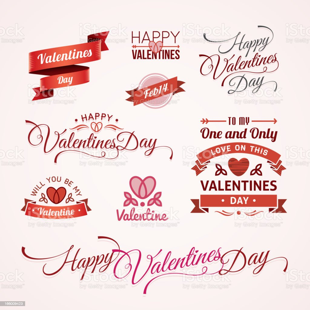 Valentines Day text designs vector art illustration