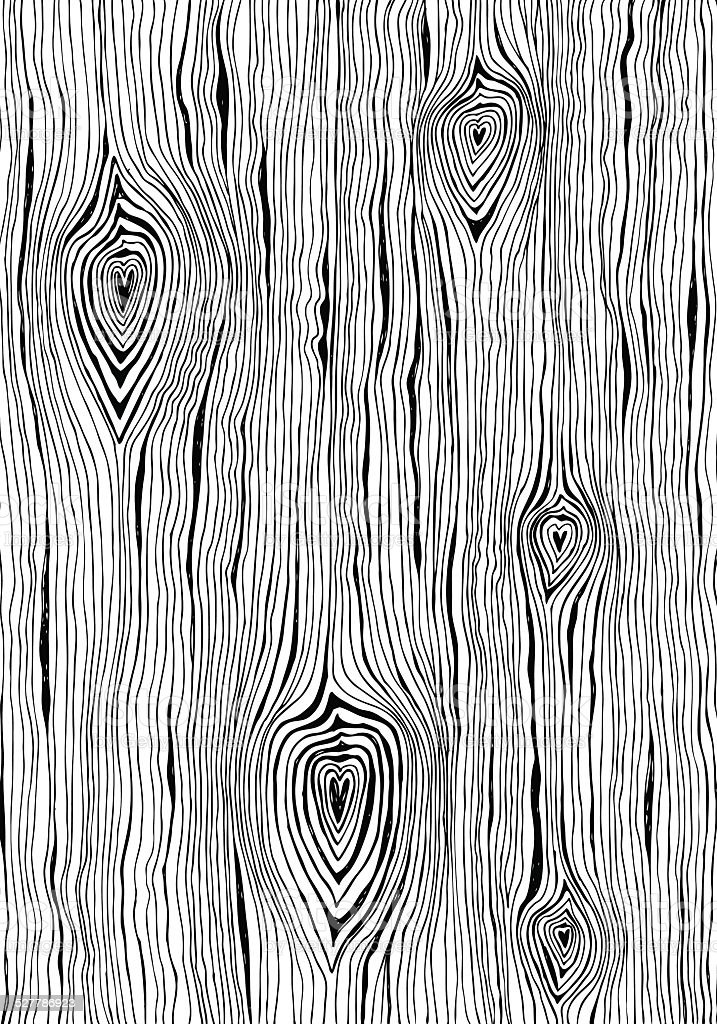 Valentines day themed wood grain pattern with hearts vector art illustration