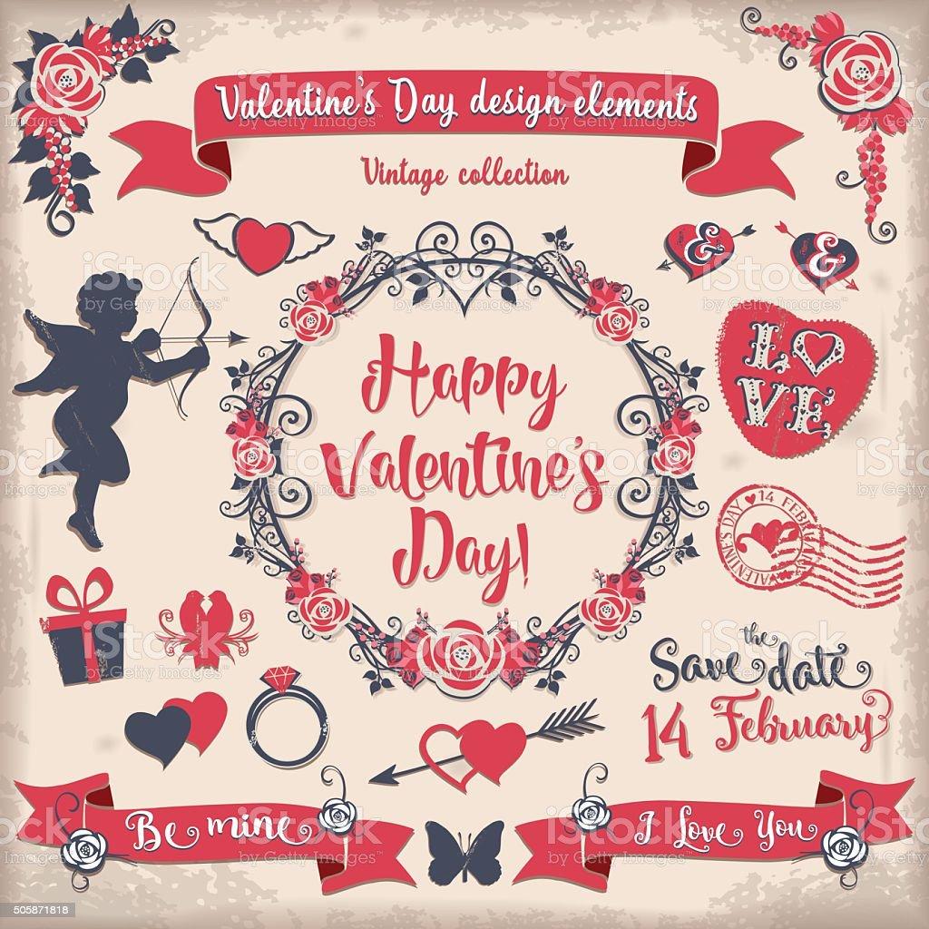 Valentine's Day tricolor vintage design elements set vector art illustration