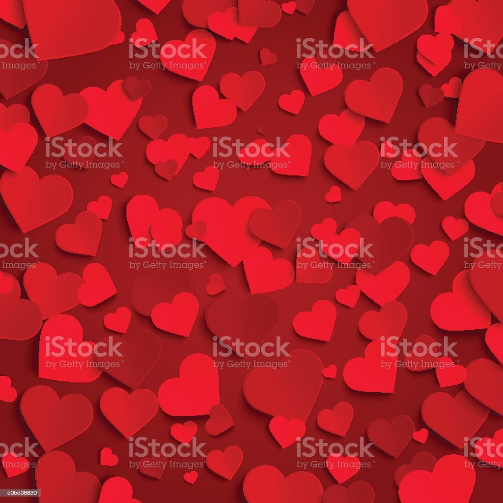 Valentine's day vector background template, red paper hearts vector art illustration
