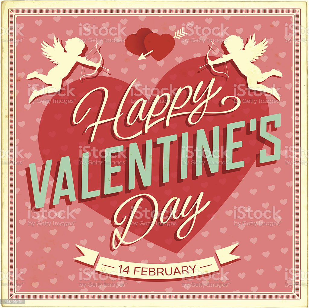 Valentine's Day Vintage Card vector art illustration