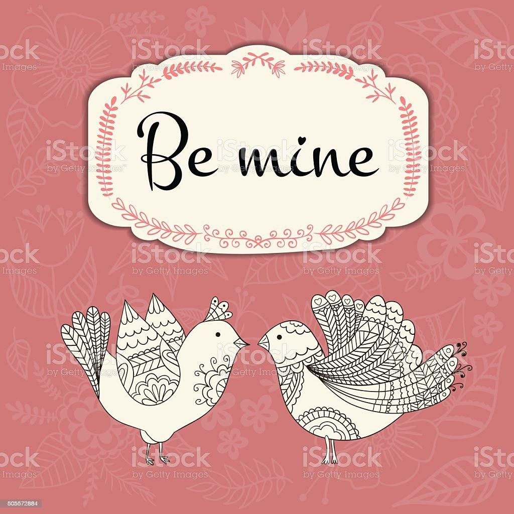 Valentine's day vintage card vector art illustration