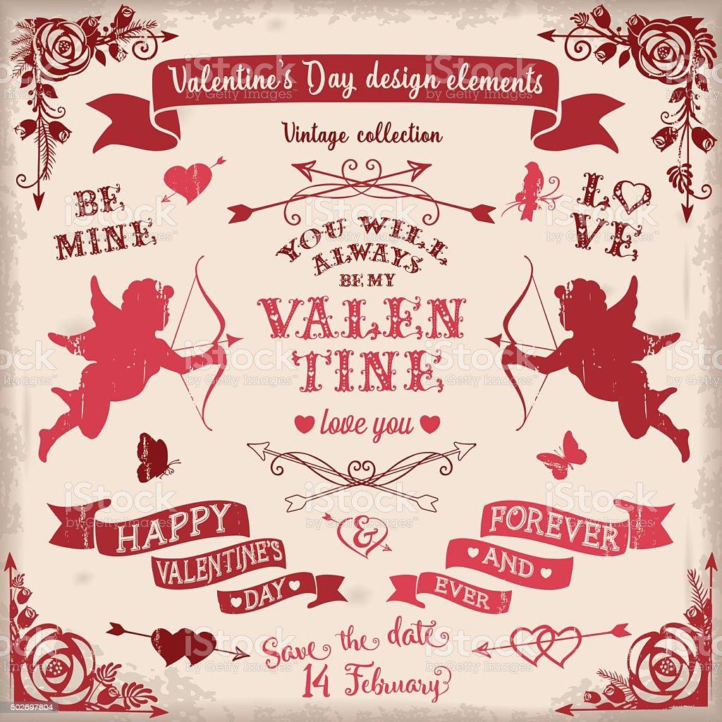 Valentine's Day vintage design elements set in burgundy colors vector art illustration